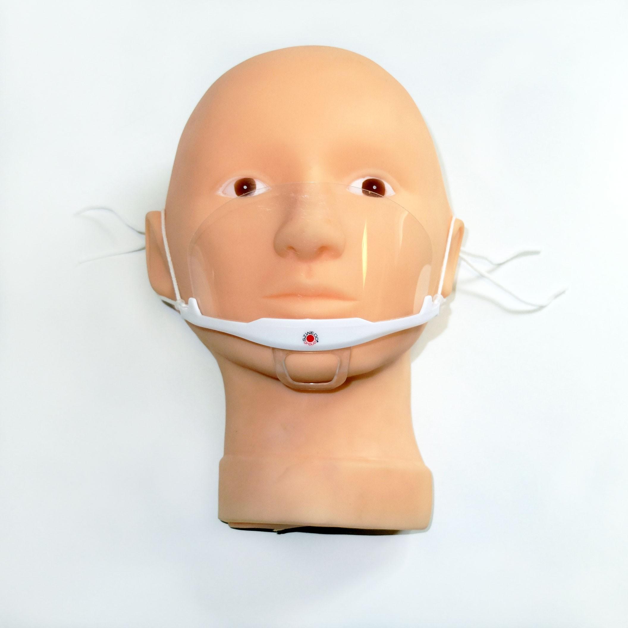 Maska ochronna na usta i nos. Wielokrotnego użytku z wysokiej jakości elastycznego plastiku. Mocowanie na uszach.