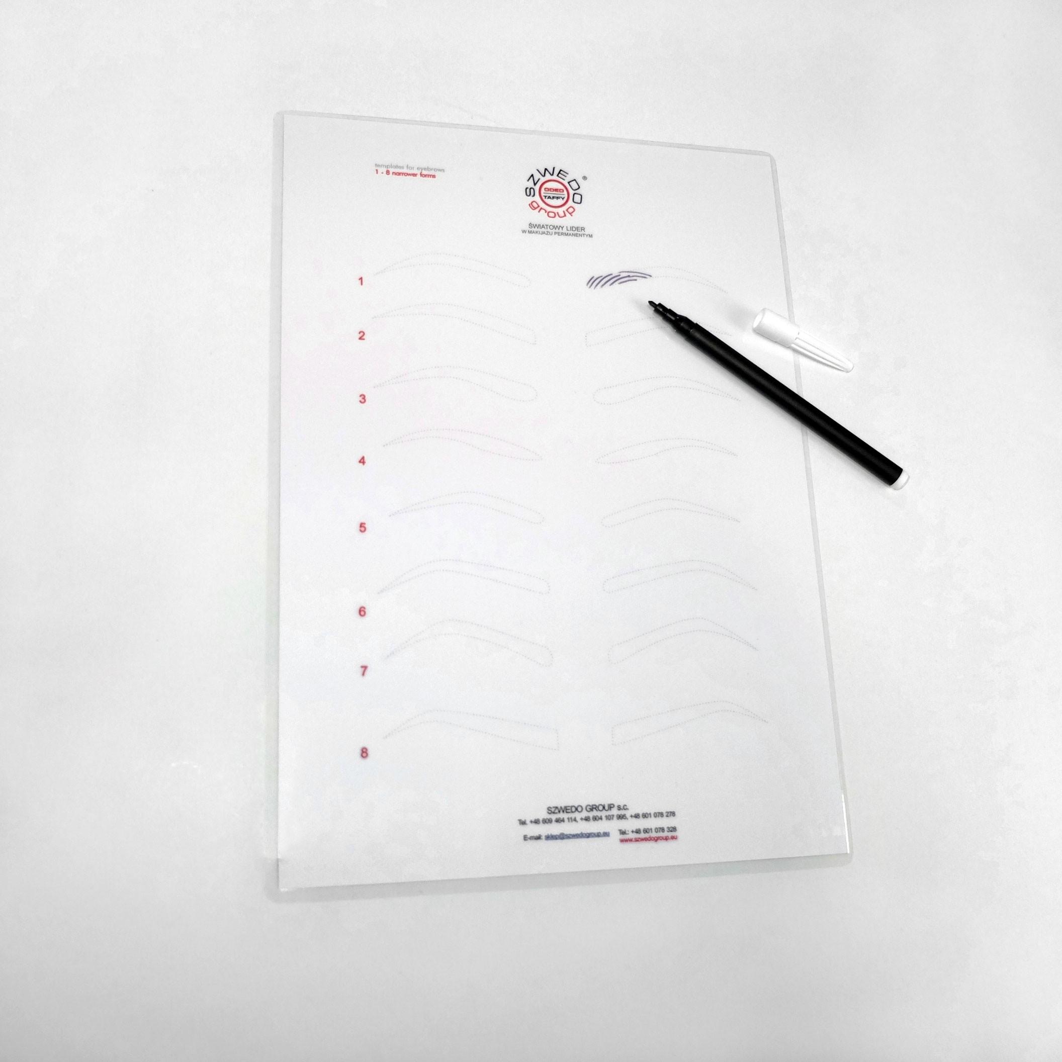 Kontury brwi do ćwiczeń (A4, laminowane) z pisakiem