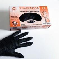 rękawice nitrylowe czarne jednorazowe ochronne rozm. M